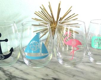 Nautical Monogram Stemless Wine Glass - Sailboat, Anchor, Whale or Flamingo!