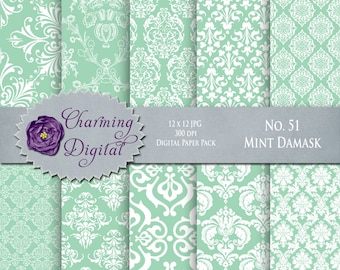 Mint Damask Digital Paper, Mint Scrapbooking Paper, No. 51 Mint Damask