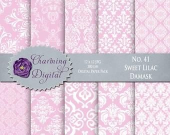 Pink Damask Digital Paper, Pink Scrapbooking Digital Paper, No. 41 Sweet Lilac