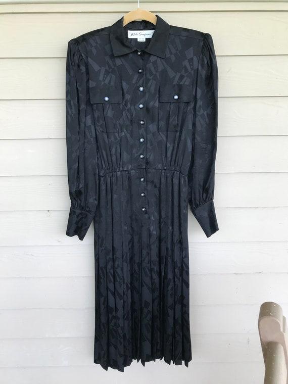 Adele Simpson Vintage Black Silk Dress