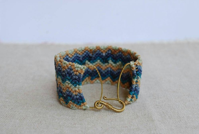 navy blue and tan New York macrame Fiber Jewelry Chevron cuff Bracelet in teal green knotted boho chic Bracelet by Reef Knot co