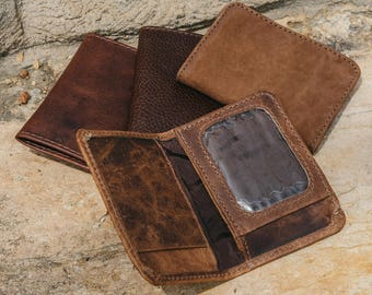 Coin Pocket Wallet |Leather Bifold Wallet with Coin Pocket | Mens Handmade Leather wallet | License holder