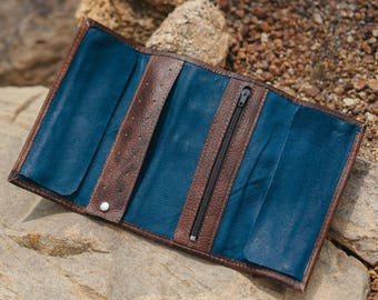 Jewelry Travel Roll | Leather Roll | Organizer | Jewelry Case | Azure Blue Leather
