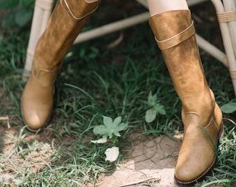 Handmade Women's Light Brown Tall Leather Boot | Atitlan Leather
