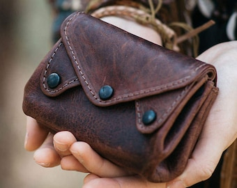 Leather Coin Purse & Card Holder Wallet