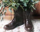 History of Victorian Boots & Shoes for Women Victorian Lace Up Boots with Brogue Pattern | Three Colors! $141.90 AT vintagedancer.com