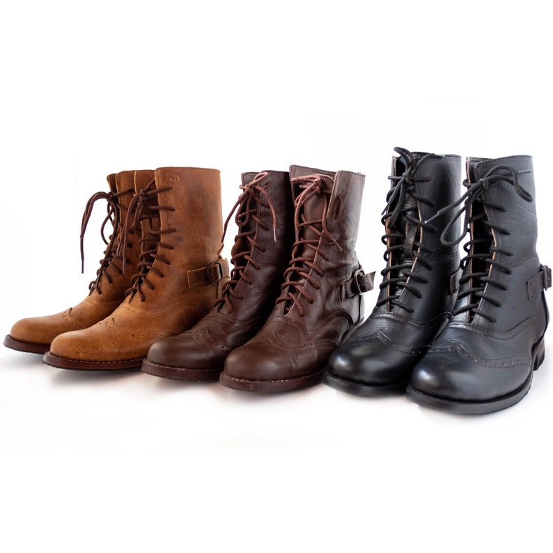 Vintage Boots, Retro Boots Victorian Lace Up Boots with Brogue Pattern | Three Colors! $141.90 AT vintagedancer.com