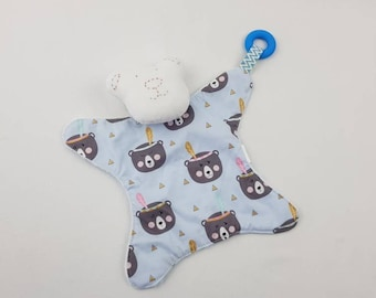 7b8bb9c5f7cf Bear print on blue coloured background. baby teddy bear comforter with  silicone ring and rattle. baby comforter. toy comforter, soft toy