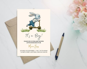 Its a boy! bunny on a schooter baby shower invitation, gender reveal, birth announcement