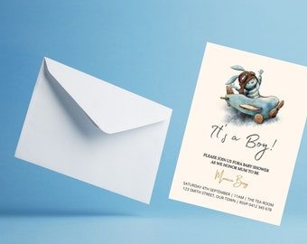Its a boy! bunny in a toy aeroplane baby shower invitation, gender reveal, birth announcement