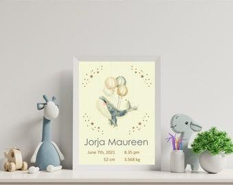 Whale with balloons nursery print, nursery wall art, birth announcement, kids bedroom art, nursery decor, digital print
