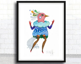 Watercolor original bird, Original on Watercolor Paper, Original Painting with Passepartout