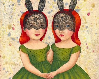 Twins - print from original acrylic painting