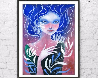 Girl with Flower, Portrait Original Acrylic Painting  Hand Painted