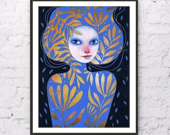 Portrait Original Acrylic Picture Hand Painted Painting Girl with Flower