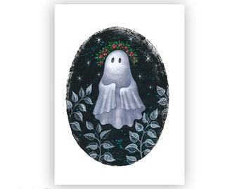 Little Ghost Print - Art Print - Halloween Ghost Art - Creepy Wall Decor - Creepy Cute Art - Pop Surrealism Art
