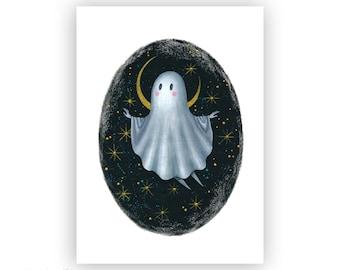 Little Ghost Print - Art Print - Halloween Ghost Art - Creepy Wall Decor - Creepy Cute Art - Moon and Stars