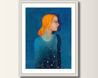 Shadow ,starry sky print from original acrylic painting, A4 (297 x 210mm), (11.7 x 8.3 in)