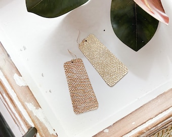 Metallic gold leather trapezoid earring, geometric shaped gold leather earring, The Belle by Designs by JenniLyn