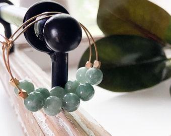 Green gemstone hoop earrings, green burma jade lightweight hoop earrings, Gem Hoops by Designs by JenniLyn