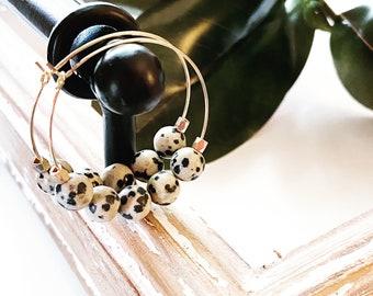 Dalmation jasper gemstone hoop earrings, lighweight statement earrings, Designs by JenniLyn