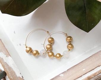 Gold beaded hoop earrings, gold wood and natural agate gemstone hoop earrings, big lightweight boho statement earrings, Designs by JenniLyn