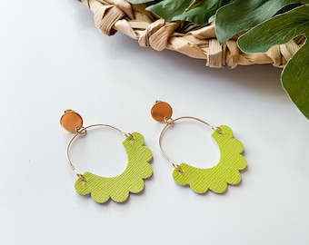 Chartreuse green scalloped leather hoop earrings with stainless steel post, celery green lightweight leather earrings, Designs by JenniLyn