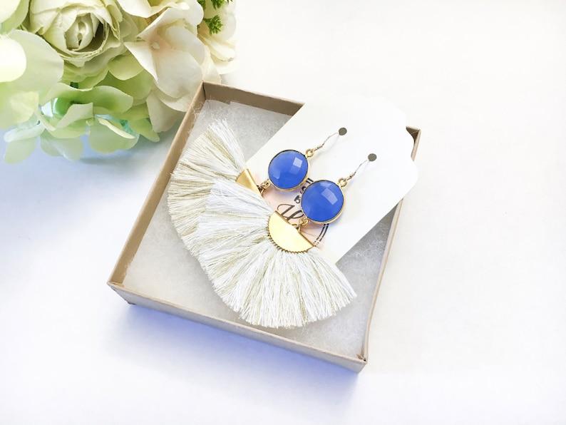Gift for Women Mom Gift White and Gold Fan Tassel Earrings with Blue Chalcedony Gemstones Statement Tassel Earrings Ready to Ship