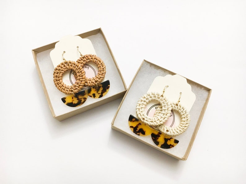Resin and Rattan Earrings tortoiseshell resin earrings image 0
