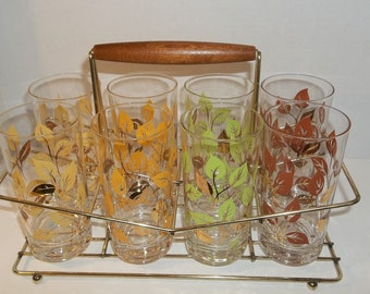 Vintage Tumblers Gold and Fall leaves with Carrier drinking glasses set of 8 -  Mad Men Style