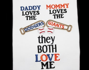 House Divided Baseball Fan Embroidered Shirt: Daddy Loves the Team Mommy Loves the Team They Both Love Me-Update for ANY Teams, Bat and Ball