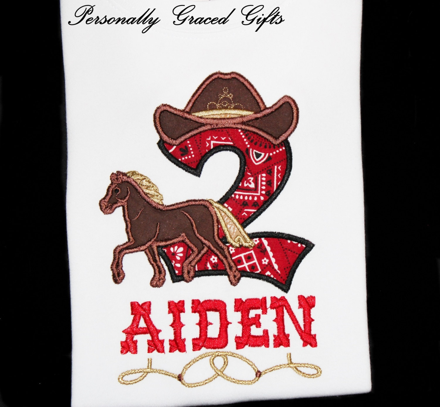 Cowboy or Cowgirl Birthday Number with Hat Horse and Ropes | Etsy