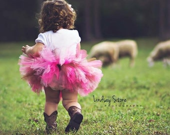 Custom Made Extra Fluffy Tutu-Colors Made to Match any Design-Baby and Toddler Girls Tulle Skirt with Satin Ribbon Bow, Pettiskirt