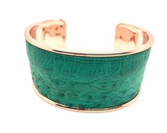 Green Turkey leather Cuff Bracelet