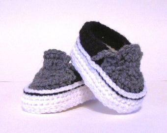 a876d16d6 Baby Sneakers, Baby Shoes Crochet, baby boy shoes, vans style booties, vans  baby booties, baby shower gift idea, NB-3mo, 3-6mo, 6-9mo