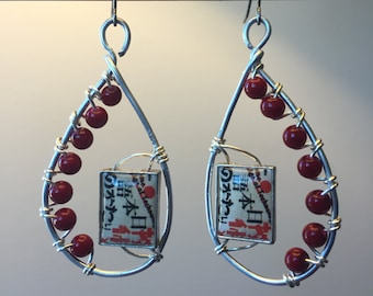 Japanese Inspired Red and Silver Wire-Wrapped Earrings