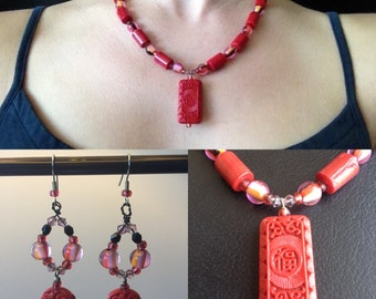 """Red Japanese """"Luck"""" Necklace and Earring Set"""