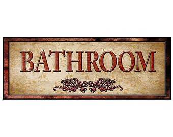 BATHROOM sign Decor For Your Home. 16 by 6 inches Mounted and Ready To Hang. Free Ship