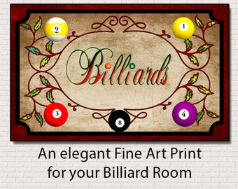 Billiards, Fine Art Print Decor For Your Home. 6.25 by 10 inches Print only