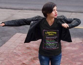 Classroom rules teachers V-Neck T-Shirt by Floridafred