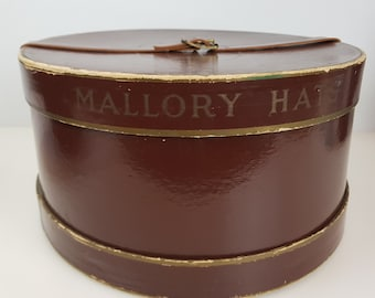 27e590ee61ae7 Vintage Mallory Hat Box Brown Leather Round Strap Fedora Store Display  Midcentury Mens Clothing Storage Bowler Boater Closet Decor
