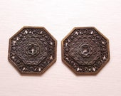 Vintage Drawer Pull Backplate Octagon Ornate Brass Aged Weathered Dresser Pull Allison Antique English Collonade Door Pull Midcentury