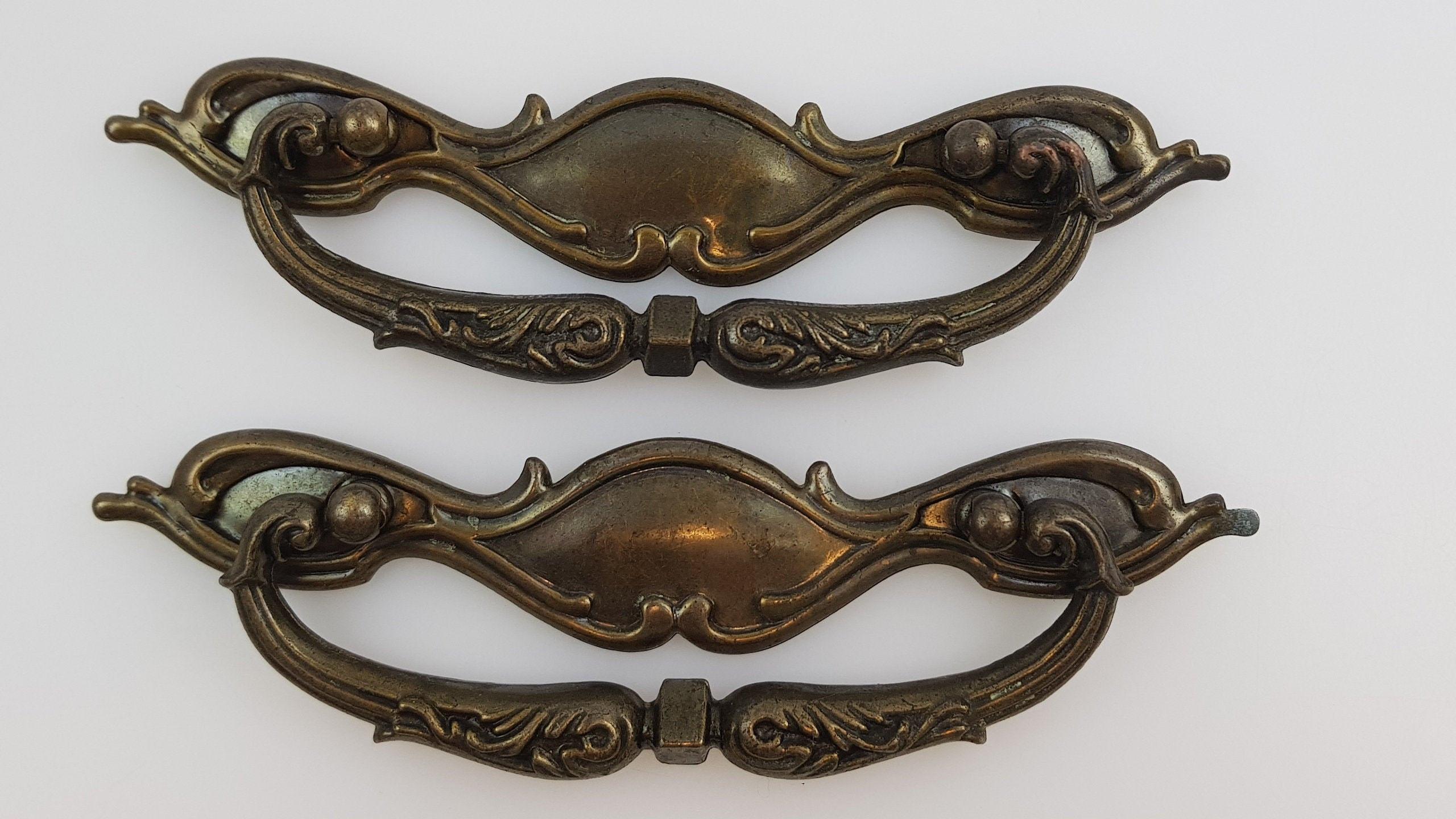 Vintage NOS Polished BRASS Plated Drawer //Cabinet Door Pull Handle Ajax Art Deco