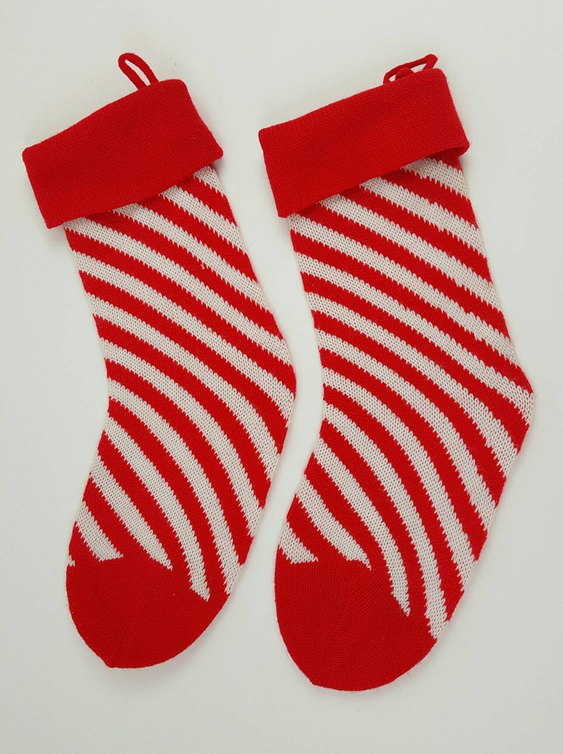 Vintage Christmas Stockings.Vintage Christmas Stockings Knitted Ski Santas Pom Cuff Retro Yarn Sweater Christmas Kitsch Stranger Things Candy Cane Swirl Striped