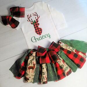 Glitter Deer,Matching Buffalo Plaid Hair Bow 3 Piece Set Buffalo Plaid Wild One Outfit
