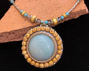 Handcrafted Amazonite Cabochon beaded necklace