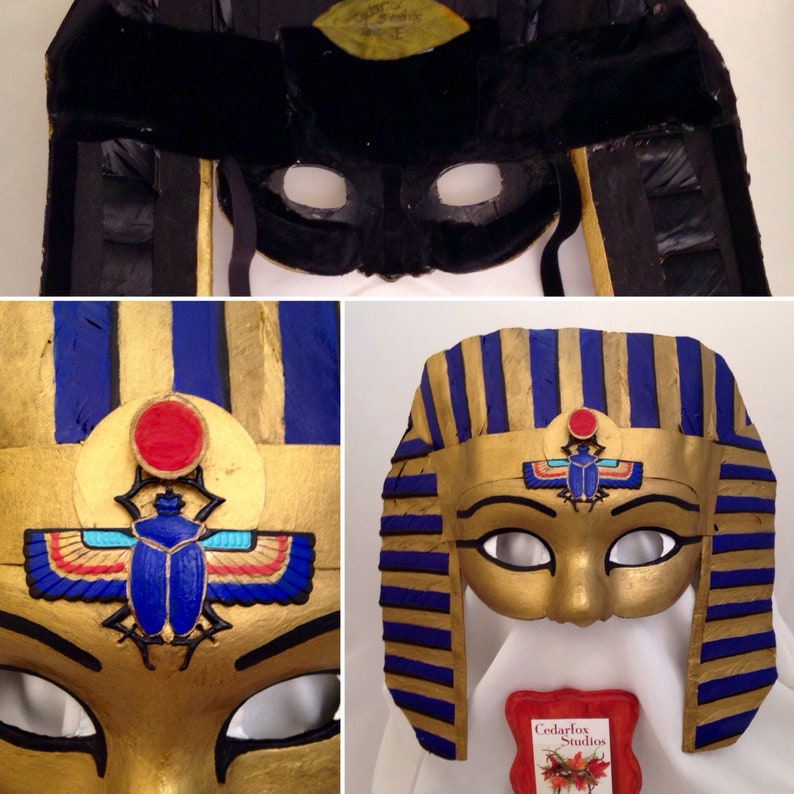 Egyptian Mask, Egyptian Costume with Nemes Headdress, Scarab, Gold, Blue,  Black, Red, Ancient History, Storytelling