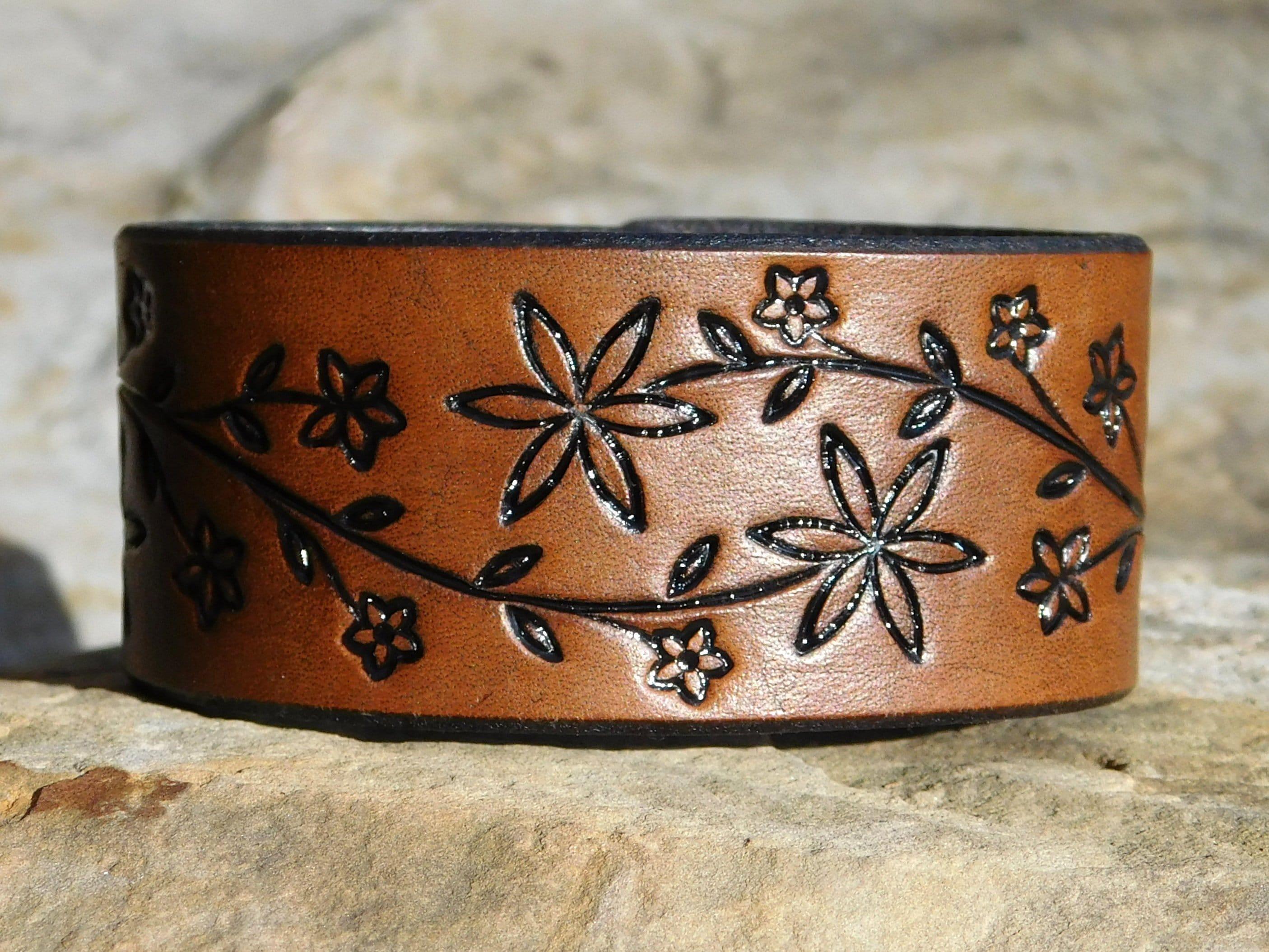 Leather Wristband Bracelet Women Womens leather bracelet Cuff Gift for Her Womens Leather Bracelet Sunflower Daisy Vine 3rd Anniversary