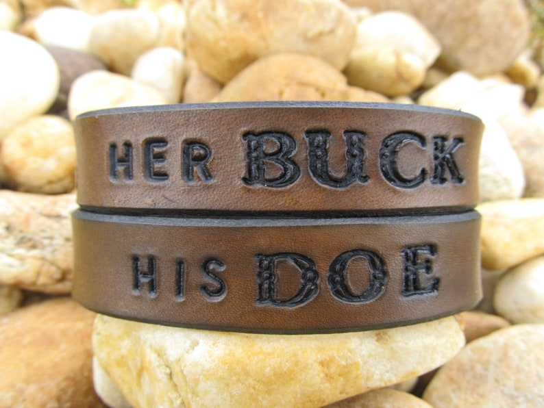 Hand Tooled Leather Bracelet Cuff  Her Buck His Doe  Set of image 0