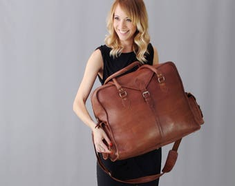 The Vagabond Extra Large: Vintage style brown leather holdall duffle weekend bag flight cabin unisex womens personalized luggage tag gift